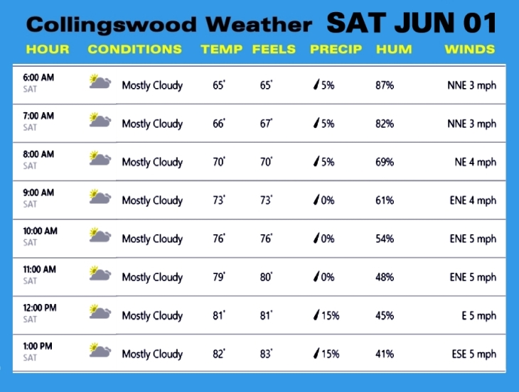 Weather SAT JUN 01
