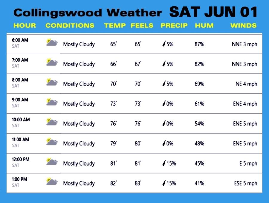 Weather SAT JUN 01