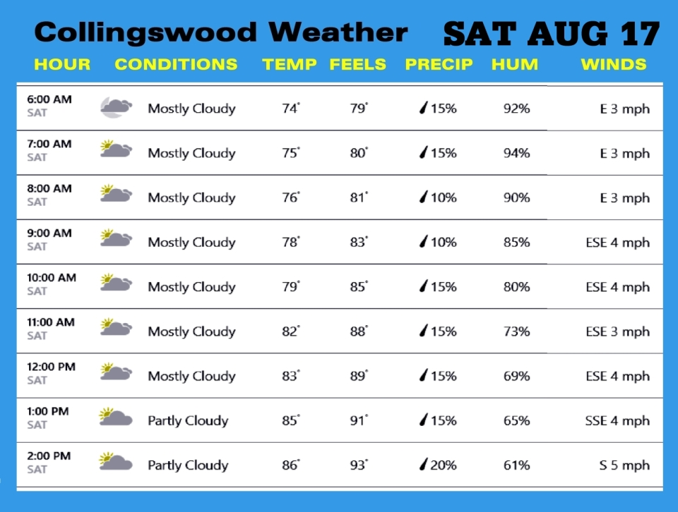 Weather SAT AUG 17