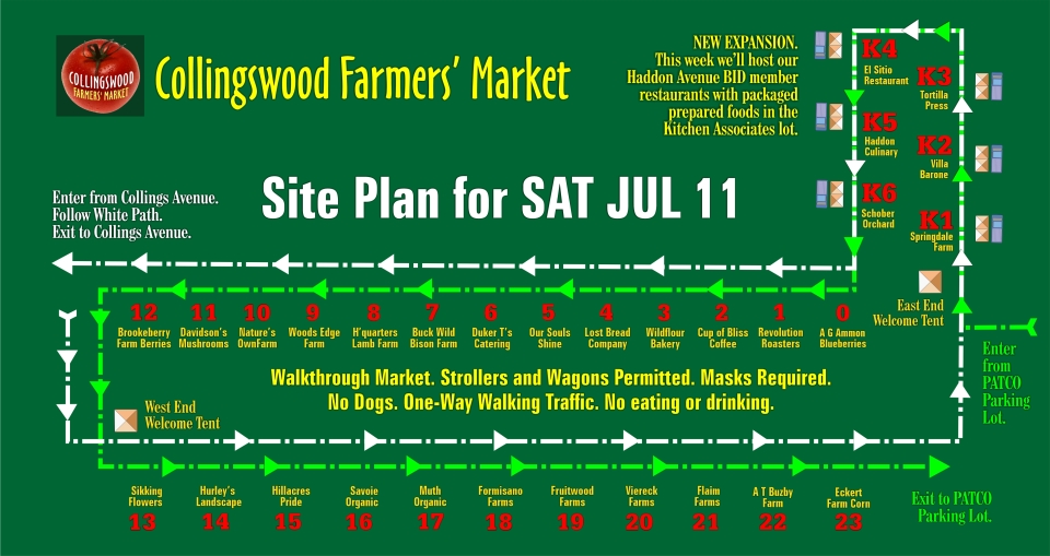 Site Plan for SAT JUL 11