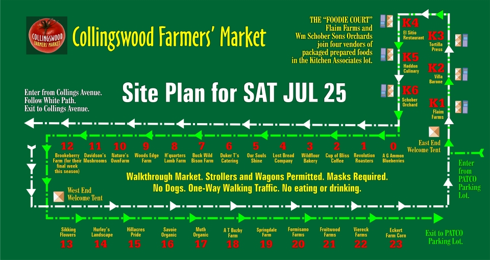 Site Plan for SAT JUL 25